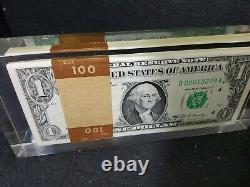 Vtg 1969 One 1 Hundred 1 Dollar Bills Afficheur Paperweight Acrylique